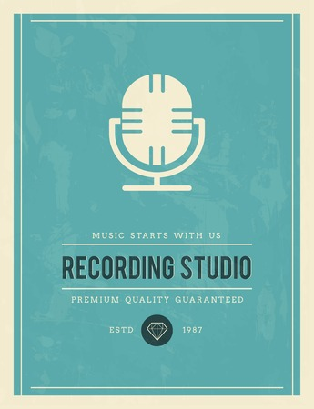 vintage poster for recording studio, vector illustration