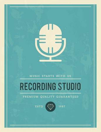 recording studio: vintage poster voor opnamestudio, vector illustratie