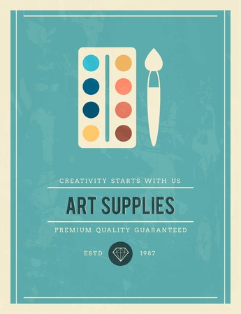 art supplies: vintage poster for art supplies, vector illustration