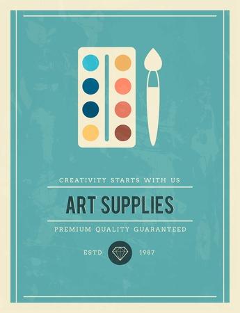 art supplies: vintage poster for art supplies, vector illustration