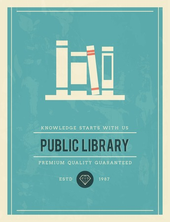 vintage poster for public library, vector illustration