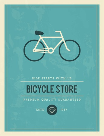 established: vintage poster for bicycle store, vector illustration