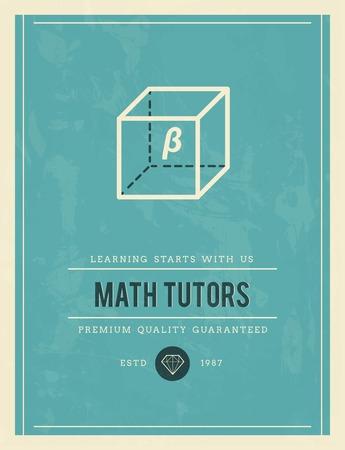 math icon: vintage poster for math tutors, vector illustration Illustration