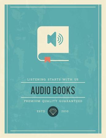 the narrator: vintage poster for audio books, vector illustration Illustration