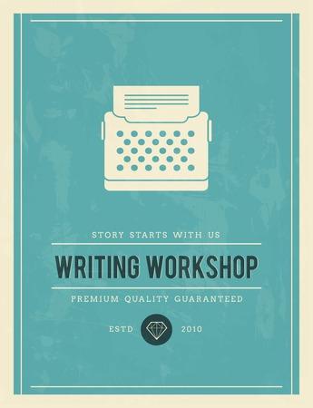vintage poster for writing workshop, vector illustration