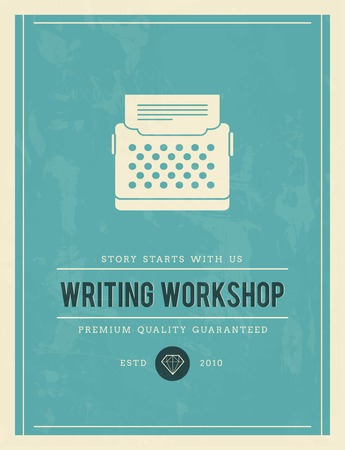 vintage poster for writing workshop, vector illustration