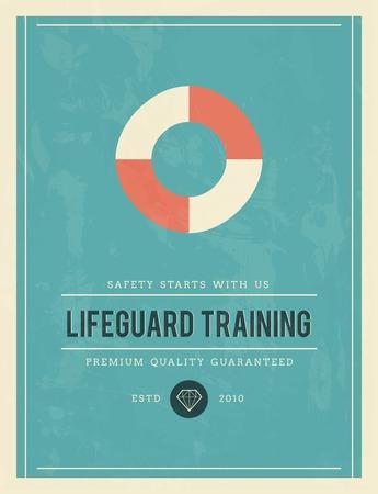 lifeguard: vintage poster for lifeguard training, vector illustration