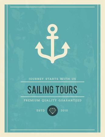 tours: vintage poster for sailing tours, vector illustration Illustration