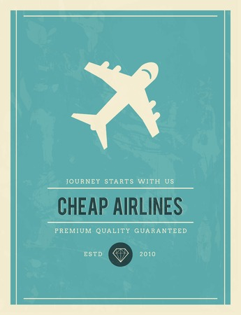 cheap: vintage poster for cheap airlines, vector illustration