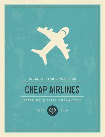 established: vintage poster for cheap airlines, vector illustration