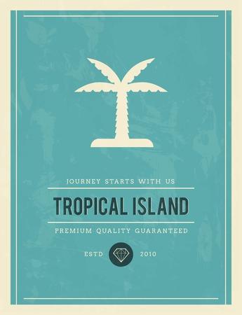 established: vintage poster for tropical island, vector illustration Illustration