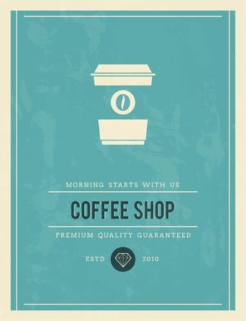 established: vintage poster for coffee shop, vector illustration