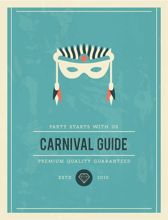 carnival costume: vintage poster for carnival guide, vector illustration
