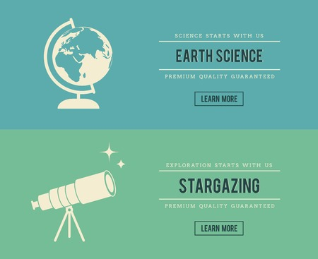 stargazing: set of vintage science related banners, vector illustration