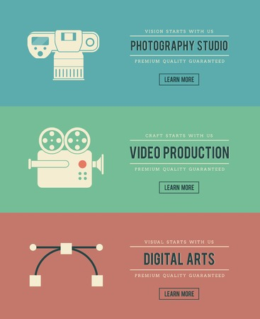 video camera icon: set of vintage digital arts themed banners, vector illustration
