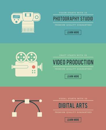 creative arts: set of vintage digital arts themed banners, vector illustration