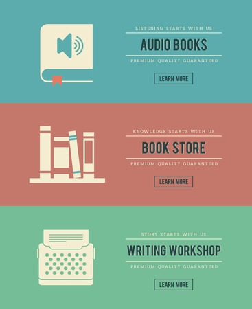set of vintage books related banners, vector illustration
