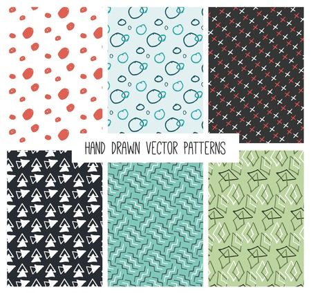 inc: vintage hand drawn cute patterns, vector illustration
