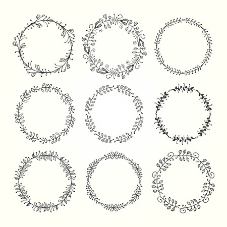 inc: vintage hand drawn decorative frames made of floral elements, vector illustration