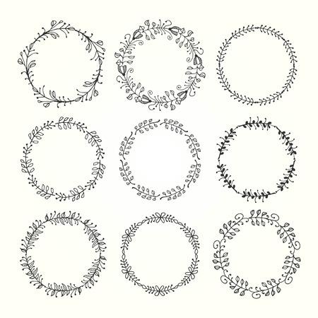bounding: vintage hand drawn decorative frames made of floral elements, vector illustration