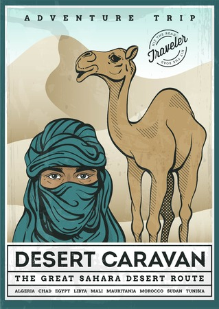 nomad: illustrated poster of desert tourism, vector illustration