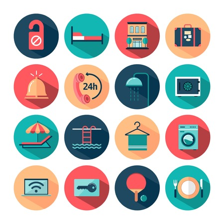 recreation rooms: set of flat long shadow hotel icons, vector illustration