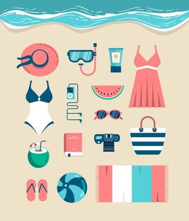 flip flops on the beach: Beautiful set of beach essentials, vector illustration