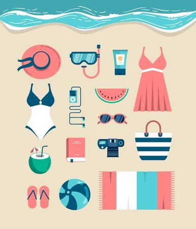 coco: Hermoso conjunto de elementos esenciales de la playa, ilustración vectorial