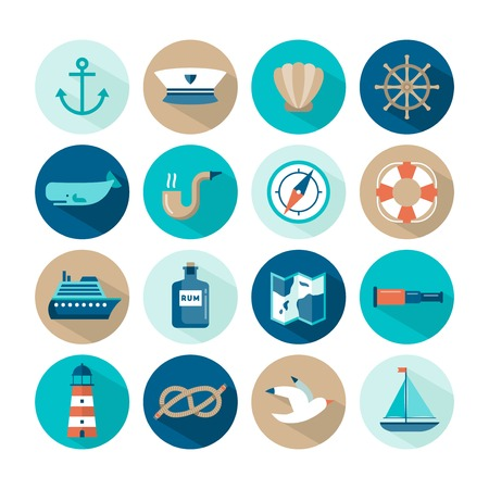 set of beautiful nautical flat icons, vector illustration Vectores