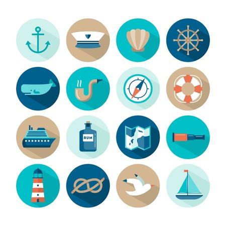 set of beautiful nautical flat icons, vector illustration Vettoriali