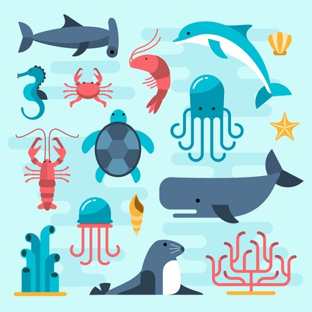 at sea: set of beautiful flat sea life, vector illustration