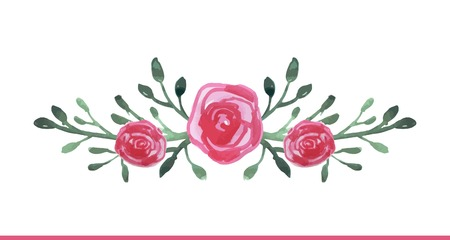 floral ornaments: watercolor hand drawn floral composition, vector illustration