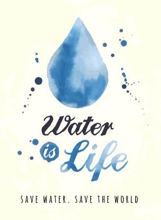 preservation: watercolor poster for water preservation, vector illustration