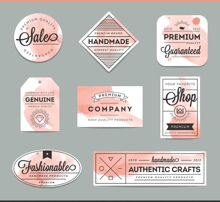 handmade shape: set of beautiful artistic labels, vector illustration