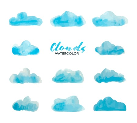 set of watercolor hand painted clouds, vector illustration Vettoriali