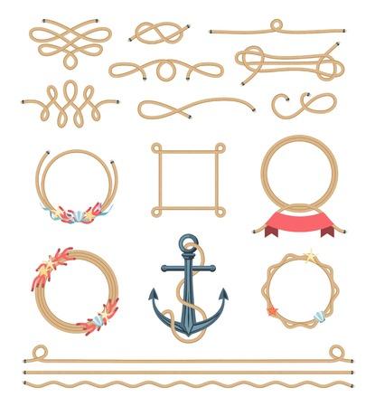 corales marinos: conjunto de elementos hermosos hecha de cuerda náutica, ilustración vectorial