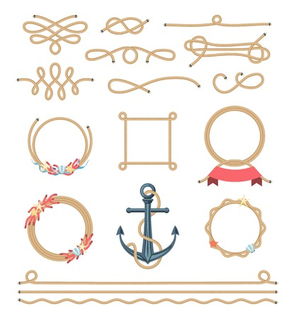 set of beautiful elements made of nautical rope, vector illustration Vettoriali
