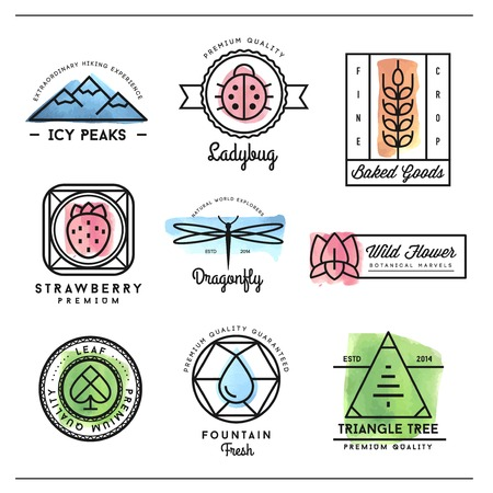 waterdrop: set of beautiful nature inspired, watercolor geometric icon and badges, vector illustration