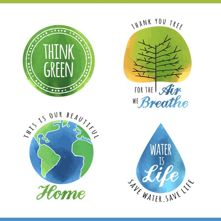 the natural world: set of watercolor environmental labels, vector illustration