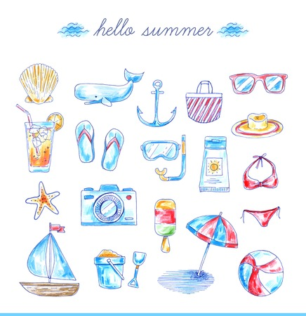set of bright hand drawn beach icons, vector illustration  イラスト・ベクター素材