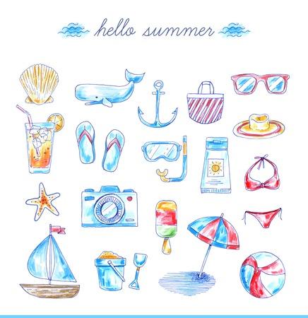 set of bright hand drawn beach icons, vector illustration Vettoriali