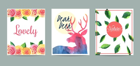 dear: set of hand drawn creative cards, vector illustration