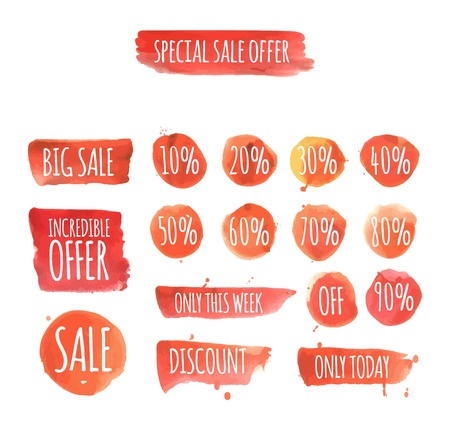 label: set of watercolor sale and discount labels. vector illustration Illustration