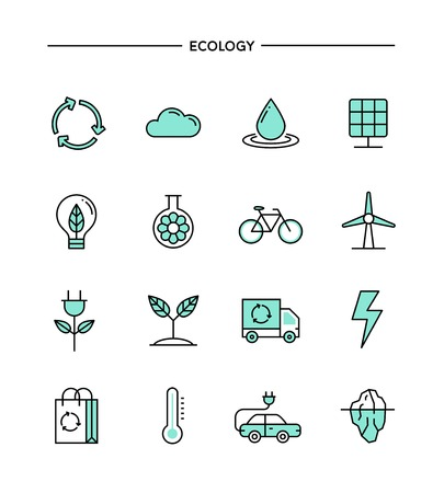 thin bulb: set of flat design, thin line ecology icons, vector illustration