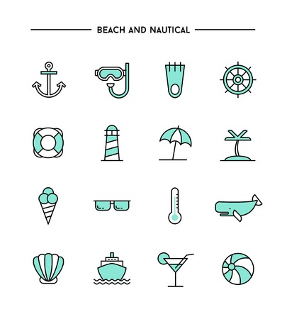 set of flat design, thin line beach and nautical icons, vector illustration