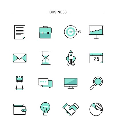 set of thin line flat business icons, vector illustration