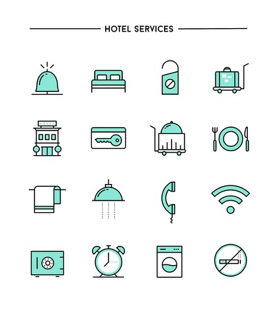 set of flat design, thin line hotel services icons, vector illustration Ilustrace