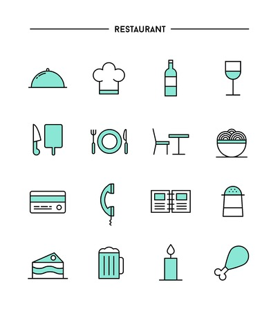 restaurant icons: set of flat design, thin line restaurant icons, vector illustration