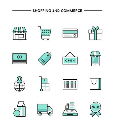 caja registradora: conjunto de iconos de línea delgada apoyados en materia de compras y comercio, ilustración vectorial