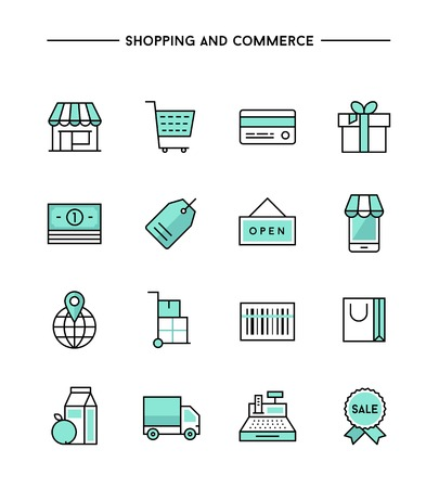 grocery store: set of flat thin line icons on subject of shopping and commerce, vector illustration